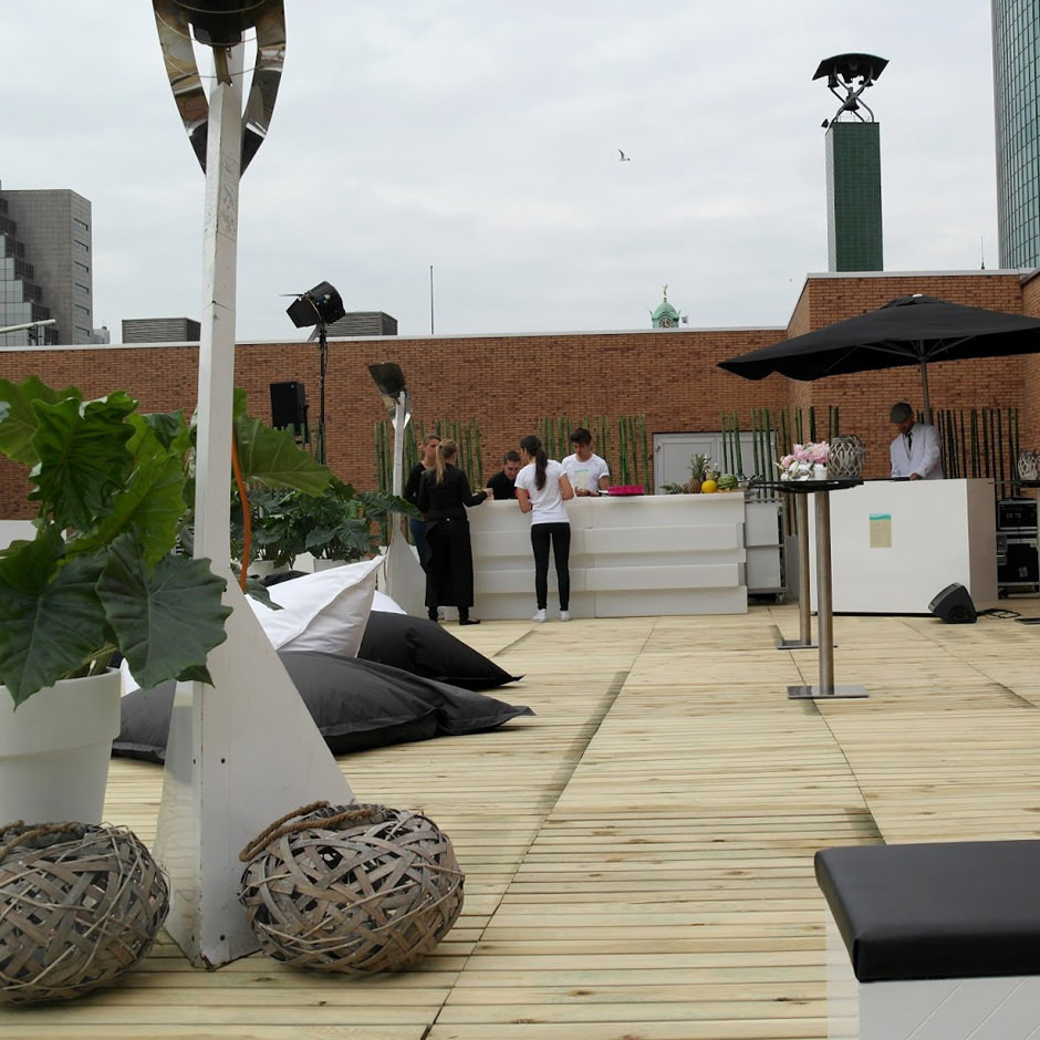 Custom Event interieurbouw Rooftop Party C&A